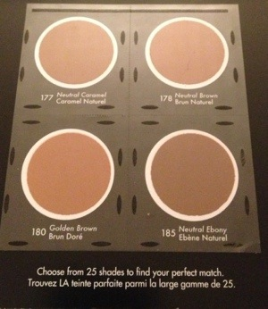 MUFE Pro Finish Foundation deep shades on sample card (available for free at Sephora)